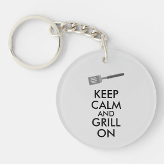 Grilling Keep Calm and Grill On Barbecue Spatula Acrylic Keychains
