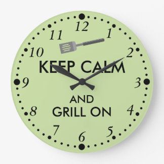 Grilling Keep Calm and Grill On Barbecue Spatula Large Clock