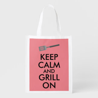Grilling Keep Calm and Grill On Barbecue Spatula Reusable Grocery Bag