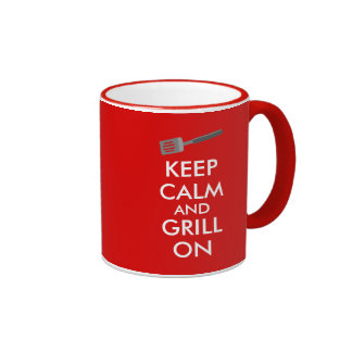 Grilling Keep Calm and Grill On Barbecue Spatula Ringer Mug