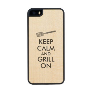 Grilling Keep Calm and Grill On Barbecue Spatula Wood Phone Case For iPhone SE/5/5s