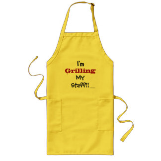 Grilling My Staff! Funny Headteacher Slogan Long Apron