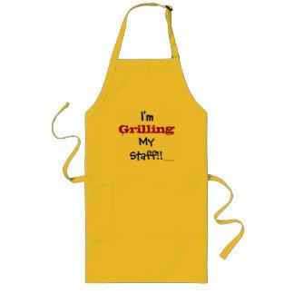 Grilling My Staff! Funny Headteacher Slogan Long Apron