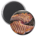 Grilling Steaks Food Dinner 2 Inch Round Magnet