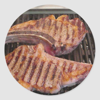 Grilling Steaks Food Dinner Classic Round Sticker