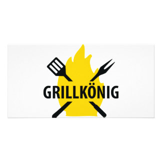 Grillkönig icon customized photo card