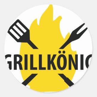 Grillkönig icon classic round sticker