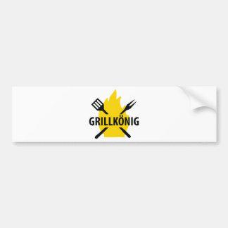 Grillkönig mit Flammen icon Bumper Sticker