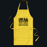 """GrillMaster BBQ king of the grill aprons for men<br><div class=""""desc"""">GrillMaster BBQ king of the grill cooking aprons for men. Yellow,  beige or white fabric with black print. Best barbecue gift idea for the real grillfather; husband,  dad,  uncle grandpa,  brother etc. Cool vintage design with personalizable quotes about chef cooks. In 2 versions,  short and long with pockets.</div>"""