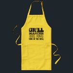 "GrillMaster BBQ king of the grill aprons for men<br><div class=""desc"">GrillMaster BBQ king of the grill cooking aprons for men. Yellow,  beige or white fabric with black print. Best barbecue gift idea for the real grillfather; husband,  dad,  uncle grandpa,  brother etc. Cool vintage design with personalizable quotes about chef cooks. In 2 versions,  short and long with pockets.</div>"