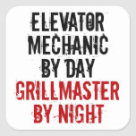 Grillmaster Elevator Mechanic Square Stickers