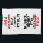 "Grillmaster Mechanical Engineer Towel<br><div class=""desc"">This barbecue grilling text design featuring the phrase &quot;Mechanical Engineer by Day Grillmaster by Night&quot; is perfect for anyone who is a mechanical engineer by day but a grillmaster by night.</div>"
