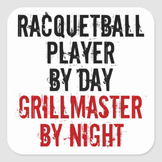 Grillmaster Racquetball Player Square Sticker