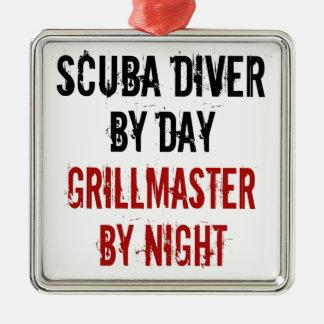 Grillmaster Scuba Diver Square Metal Christmas Ornament