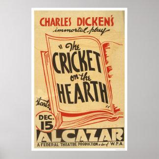 Grillo de Dickens en el hogar WPA 1938 Posters