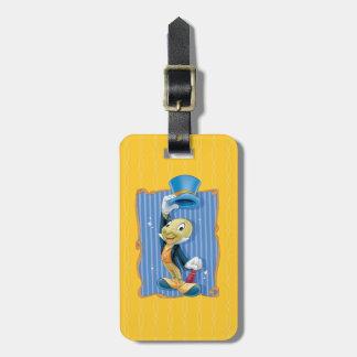 Grillo de Jiminy que levanta su gorra Etiquetas Maletas