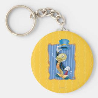 Grillo de Jiminy que levanta su gorra Llavero Redondo Tipo Pin