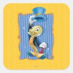 Grillo de Jiminy que levanta su gorra Pegatinas Cuadradases Personalizadas