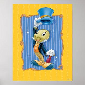 Grillo de Jiminy que levanta su gorra Póster