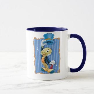 Grillo de Jiminy que levanta su gorra Taza