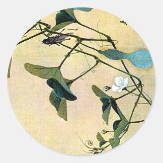 Grillo en un arte Ukiyo-E de Woodblock del japonés Pegatina Redonda