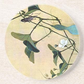 Grillo en un arte Ukiyo-E de Woodblock del japonés Posavaso Para Bebida