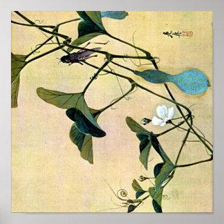 Grillo en un arte Ukiyo-E de Woodblock del japonés Póster