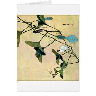 Grillo en un arte Ukiyo-E de Woodblock del japonés Tarjeta De Felicitación