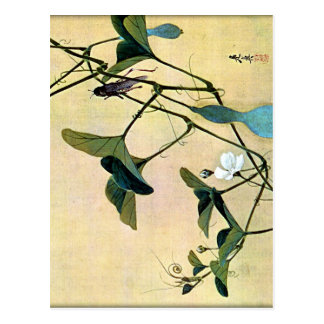 Grillo en un arte Ukiyo-E de Woodblock del japonés Postal