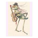 Grillo que juega el violín postal