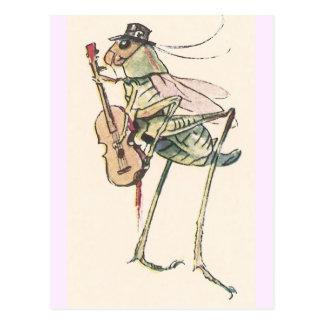 Grillo que juega el violín tarjetas postales