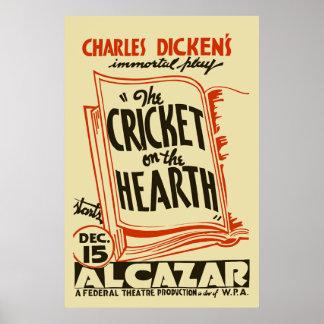 Grillo restaurado de Charles Dickens en el hogar Póster
