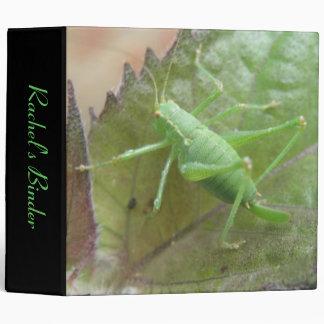 Grillo verde en una carpeta del personalizado de l