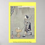 Grillos de cogida por Suzuki, Harunobu Ukiyoe Poster