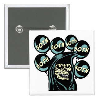 Grim Reaper 50th Birthday Gifts Button