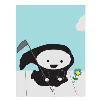 Grim Reaper and Flower Postcard