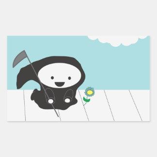 Grim Reaper and Flower Rectangular Sticker
