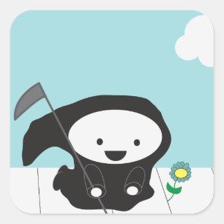 Grim Reaper and Flower Square Sticker
