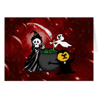 Grim Reaper and Ghost Cauldron Card