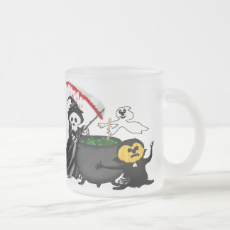 Grim Reaper and Ghost Cauldron Frosted Glass Coffee Mug