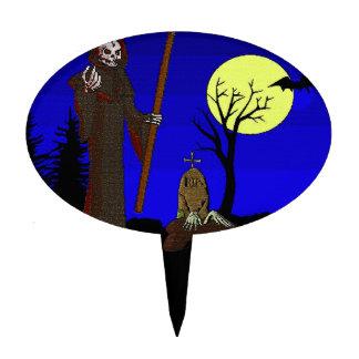 Grim Reaper at Graveyard Halloween Cake Topper