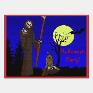Grim Reaper at Graveyard Halloween Party Sign