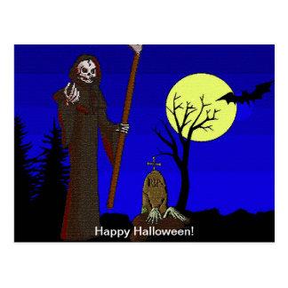 Grim Reaper at Graveyard Postcard