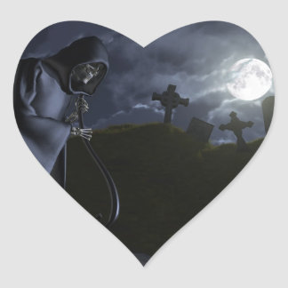 Grim Reaper at the Office Heart Sticker