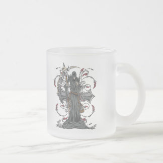 Grim Reaper Awaits Frosted Glass Coffee Mug