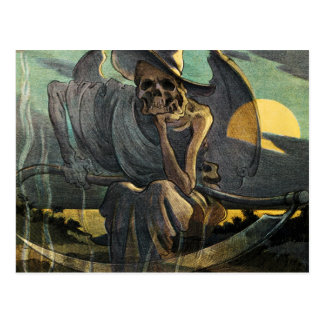 Grim Reaper Awaits with Scythe Postcard