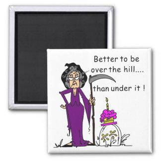 Grim Reaper Birthday Humor 2 Inch Square Magnet