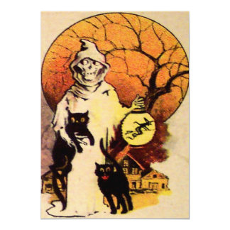 Grim Reaper Black Cat Full Moon Tree Lantern Witch Card