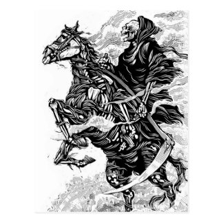 Grim Reaper BW Postcard