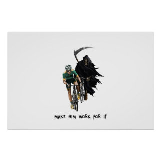 Grim Reaper Chasing Cyclist Posters